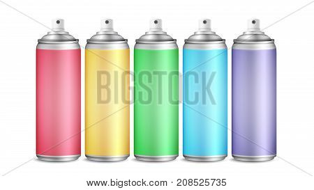 Colorful Spray Can Set Vector. 3D Aluminium Bottles. Paint Aerosol For Street Graffiti. Branding Design. 3D Packaging. Mock Up. Isolated