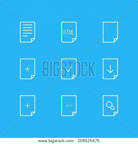 Editable Pack Of Upload, Code, HTML And Other Elements.  Vector Illustration Of 9 Page Icons.