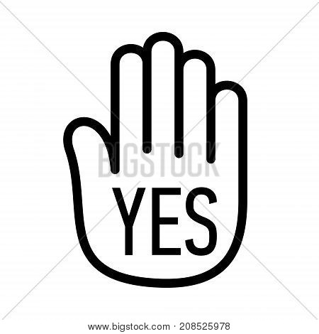 Hand yes palm open stop up logo icon. Simple illustration of hand open palm with no stop open vector illustration for print or web design.