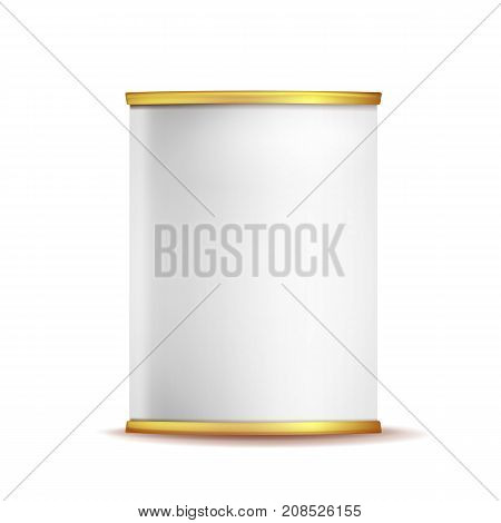 Metal Tin Box Can Vector. 3d Realistic Empty Packaging Container. For Baby Powder Milk, Tea, Coffee, Cereal. Mock Up Blank Isolated On White Background Illustration