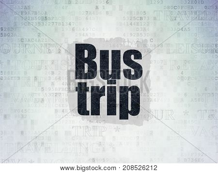 Travel concept: Painted black text Bus Trip on Digital Data Paper background with   Tag Cloud