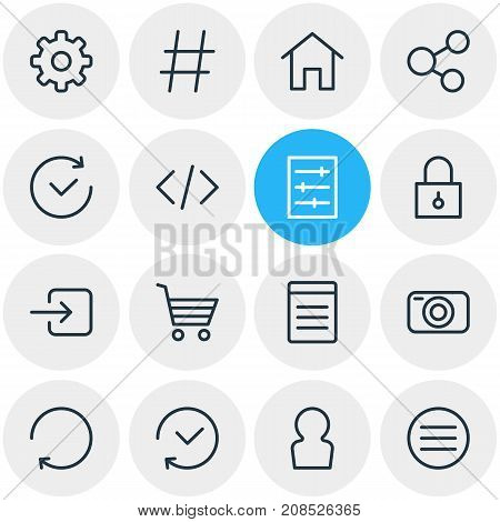 Editable Pack Of Script, Topic, Photo Apparatus And Other Elements.  Vector Illustration Of 16 Annex Icons.