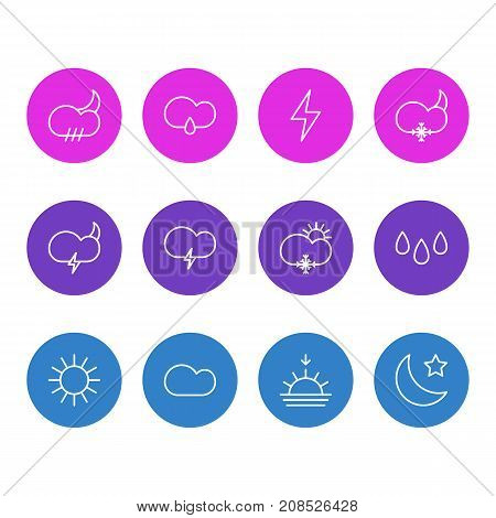 Editable Pack Of Fulminant, Sunrise, Crescent And Other Elements.  Vector Illustration Of 12 Weather Icons.