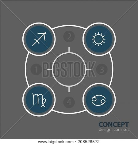 Editable Pack Of Virgin, Archer, Sunny And Other Elements.  Vector Illustration Of 4 Constellation Icons.