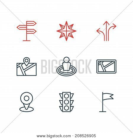 Editable Pack Of Pin, Orientation, Guidepost And Other Elements.  Vector Illustration Of 9 Navigation Icons.