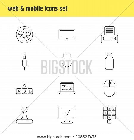 Editable Pack Of Socket, Flash Drive, Online Computer And Other Elements.  Vector Illustration Of 12 Computer Icons.