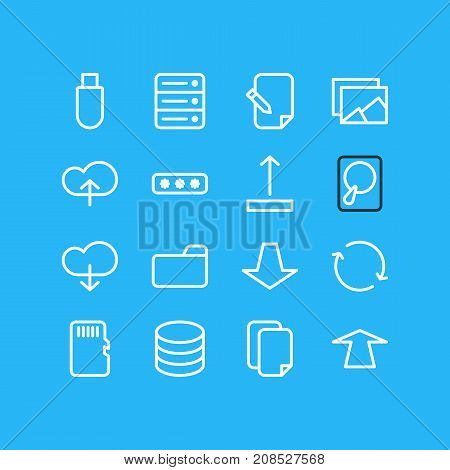 Editable Pack Of Upload, Gallery, Datacenter And Other Elements.  Vector Illustration Of 16 Archive Icons.