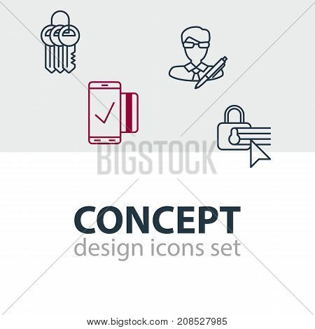 Editable Pack Of Easy Payment, Key Collection, Copyright And Other Elements.  Vector Illustration Of 4 Data Icons.