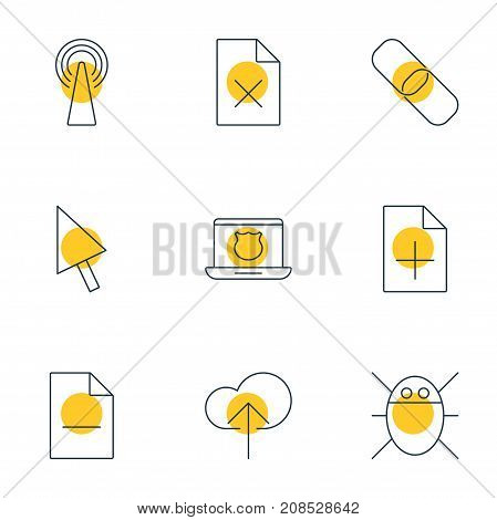 Editable Pack Of Secure Laptop, Removing File, Delete Data And Other Elements.  Vector Illustration Of 9 Network Icons.