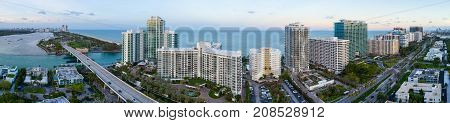 Aerial panoramic image of Bal Harbour an upscale neighborhood in Dade County FL