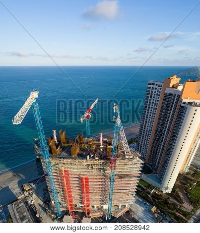 SUNNY ISLES BEACH, FL, USA - OCTOBER 9, 2017: Aerial image of the Armani Casa Residences under construction Sunny Isles Beach FL USA