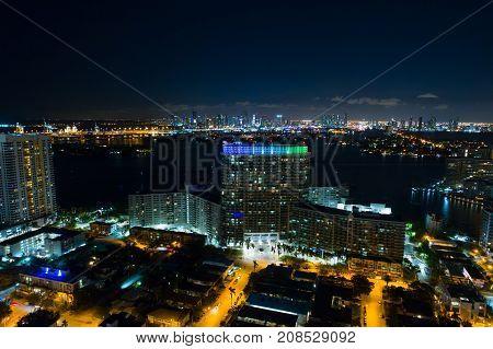 Aerial Image Flamingo Towers Miami Beach At Night