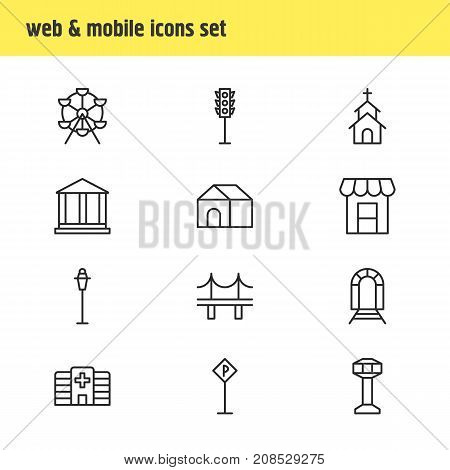 Editable Pack Of Ferris Wheel, Subway, Awning And Other Elements.  Vector Illustration Of 12 Public Icons.