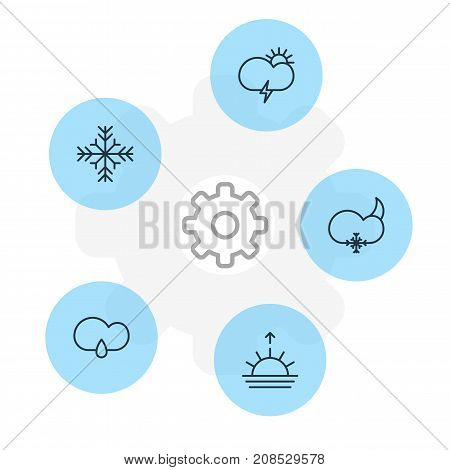 Editable Pack Of Sunset, Snowflake, Snow And Other Elements.  Vector Illustration Of 5 Weather Icons.