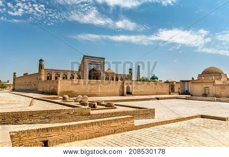 Mohammed Rahim Khan Medresa at Itchan Kala, the old town of Khiva. A UNESCO heritage site in Uzbekistan