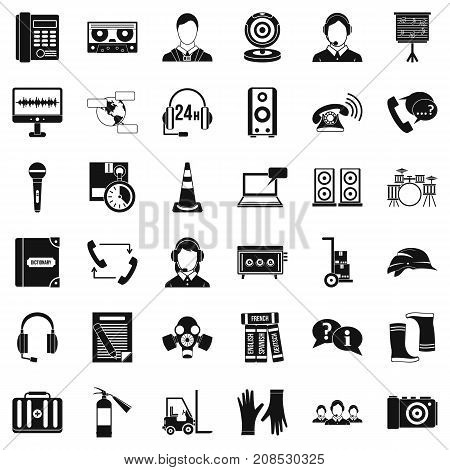 Headphones icons set. Simple style of 36 headphones vector icons for web isolated on white background