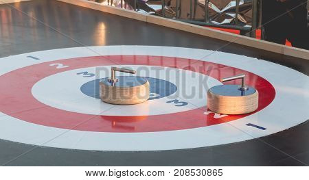 Outdoor Curling Track Installed On A Christmas Market