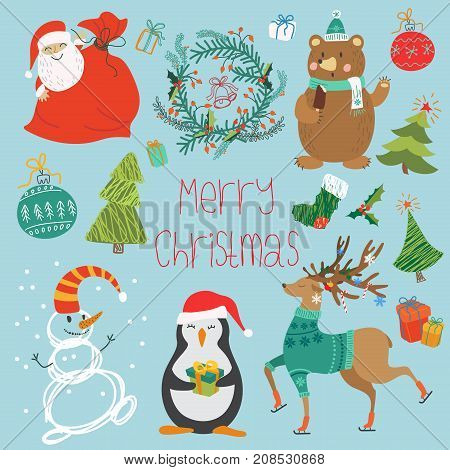 Vector illustration of animals, Santa Claus, and different decorations for Christmas