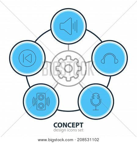 Editable Pack Of Preceding, Amplifier, Mike And Other Elements.  Vector Illustration Of 5 Music Icons.