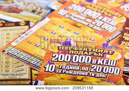 SOFIA, BULGARIA - September 07, 2017 : Closeup of Bulgarian lottery scratch tickets