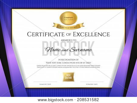 Luxury certificate template with elegant violet border frame Diploma design for graduation or completion