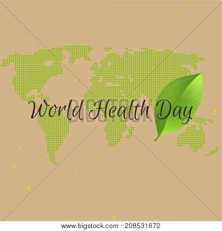 World health day concept with green map . Advertisement of healty lifestyle. People healthcare.