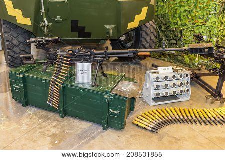 Kyiv Ukraine - October 11 2017: Weapon of the War in Ukraine. Heavy machine gun during exibition.