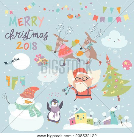 Vector set of Christmas characters and icons. Santa, christmas tree, snowmanand deers