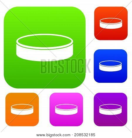 Puck set icon color in flat style isolated on white. Collection sings vector illustration