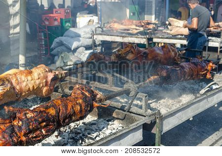 Leskovac, Serbia - September 3, 2016 : Grilling meat at yearly grilled-meat festival Roshtilyade in Leskovac Serbia organized at the beginning of September
