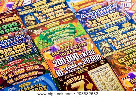 SOFIA, BULGARIA - September 07, 2017 : Pile of different Bulgarian national lottery scratch tickets