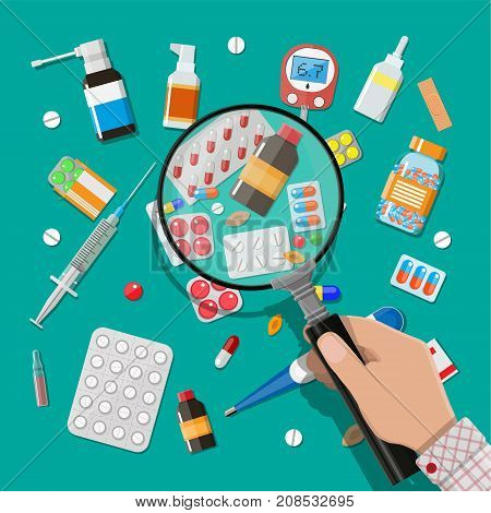 Medicine pills capsules and bottles and healthcare devices. Hand with magnifying glass. Tablets in flat style. Medical icons set. Vector illustration