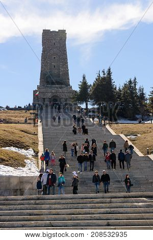 SHIPKA MONUMENT, BULGARIA - March 05, 2017 : People at Shipka national monument of liberty
