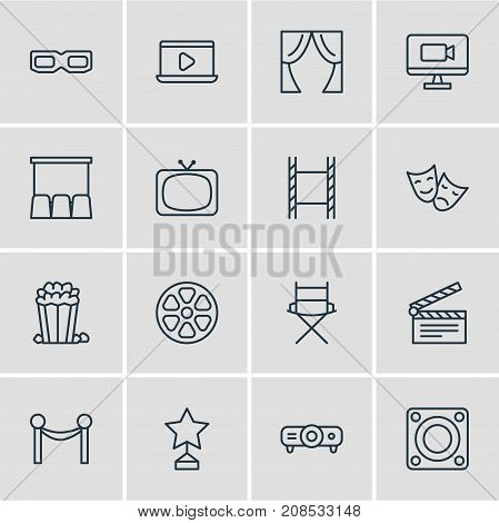 Editable Pack Of Cinema Fence, Clapper, Filmstrip And Other Elements.  Vector Illustration Of 16 Film Icons.