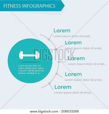 Fitness and wellness infographics template bodybuilding cardio training healthy eating sport set lifestyle concept activity charts. Vector illustration