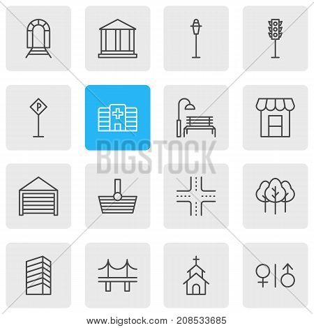 Editable Pack Of Courthouse, Subway, Skyscraper And Other Elements.  Vector Illustration Of 16 Public Icons.