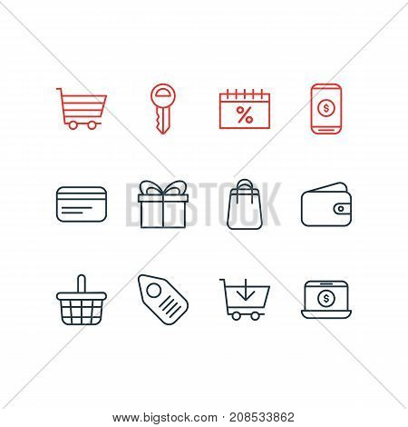 Editable Pack Of Present, Tag, Buy And Other Elements.  Vector Illustration Of 12 Trading Icons.