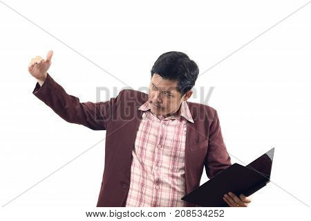Asian Businessman Inviting Or Beckon Used Hand Sign Isolate On White Background