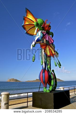 MAZATLAN, MEXICO, January 27, 2017: The statue is part of the Carnaval celebration in Mexico, an official Mexican holiday that kicks off a five-day event before the Catholic lent which begins on Ash Wednesday.