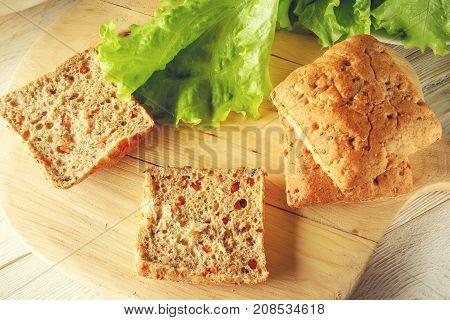 vegetarian buns and green salad top view
