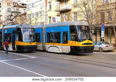 Sofia Bulgaria - March 3 2017 : Public transport - modern blue trams on the streets of Sofia