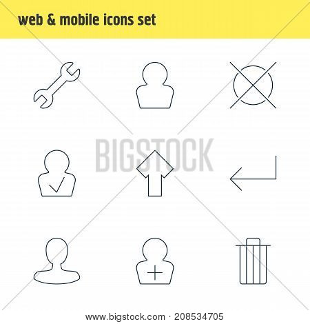 Editable Pack Of Garbage, Approved Profile, Upward And Other Elements.  Vector Illustration Of 9 UI Icons.