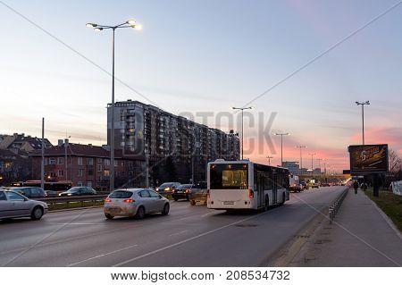 SOFIA BULGARIA - March 2 2017 : Traffic at Tsarigradsko Shose boulevard at sunset