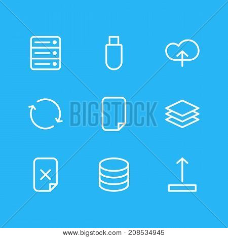Editable Pack Of File, Arrow Up, Upload And Other Elements.  Vector Illustration Of 9 Archive Icons.