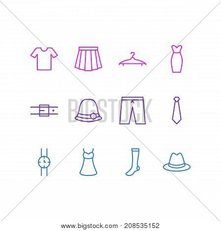 Editable Pack Of Hand Clock, Cloakroom, Fedora Elements.  Vector Illustration Of 12 Dress Icons.