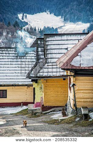 Beautiful wooden houses in Vlkolinec village Slovak republic Unesco. Cultural heritage. Travel destination.