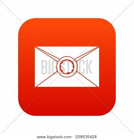 Envelope with red wax seal icon digital red for any design isolated on white vector illustration