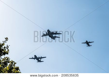 Madrid Spain - October 12 2017: Airbus A400M C130 and C295 transport aircrafts in Spanish National Day Parade. Several troops take part in the army parade for Spain's National Day.