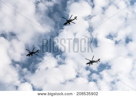 Madrid Spain - October 12 2017: Three attack helicopters Tigre in Spanish National Day Parade. Several troops take part in the army parade for Spain's National Day.