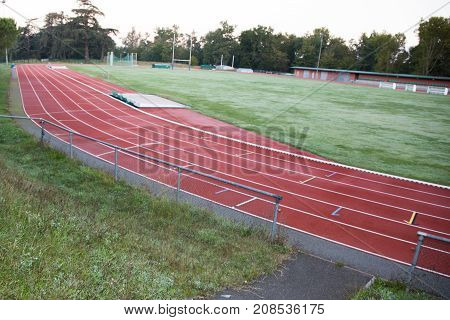 Running Track In Stadium Red Field Run